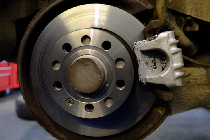 Got a brake squeal, spongy pedal, vehicle pulling under braking, then come  in and lets get it checked out.